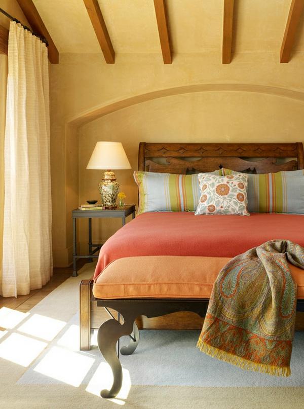 moderne einrichtungsideen schlafzimmer mexikanischer stil möbel warme farbpalette