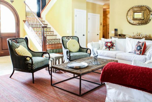 moderne einrichtungsideen wohnzimmer möbel mexikanischer stil gelbe wandfarbe