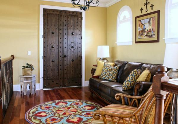 moderne einrichtungsideen wohnzimmer mexikanischer stil möbel gelbe wandfarbe