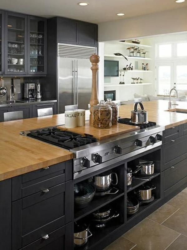 einrichtungsideen gestalten Kochinsel dunkelfarbige möbel lagerraum
