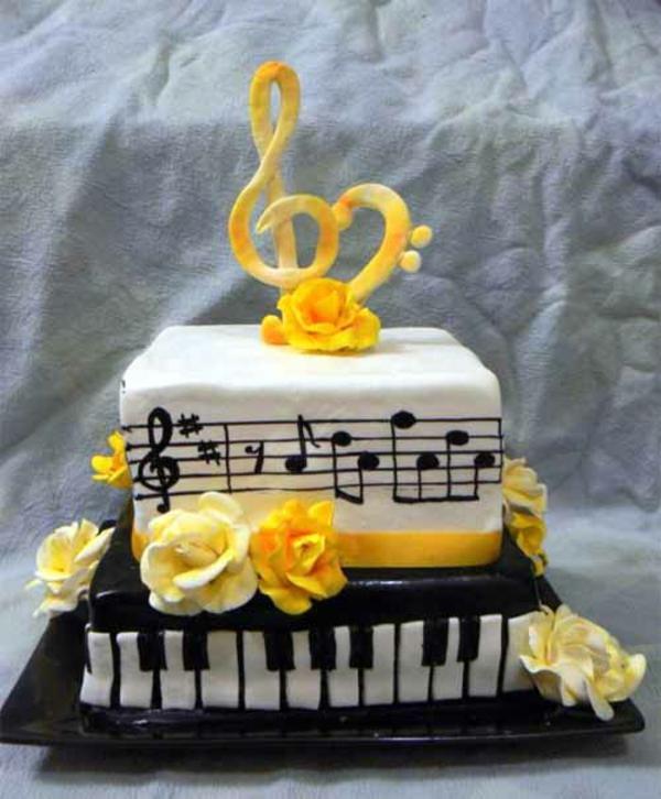 musik kuchen designs gelb glasur