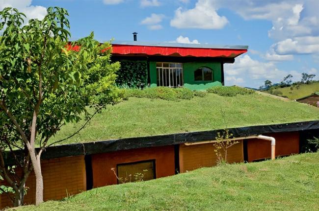 nachhaltige architektur dach begrünung rasen grüne architektur ideen