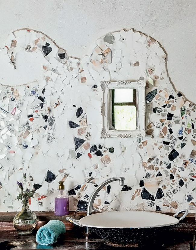 nachhaltige architektur innendesign ideen badezimmer waschbecken wandgestaltung rückwand