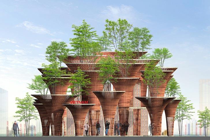 nachhaltige baustoffe bambus vietmanesischer pavillon world expo 2015 mailand