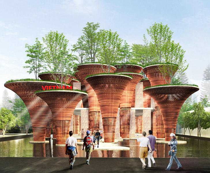 nachhaltige baustoffe vo trong nghia bambus pavilion world expo 2015