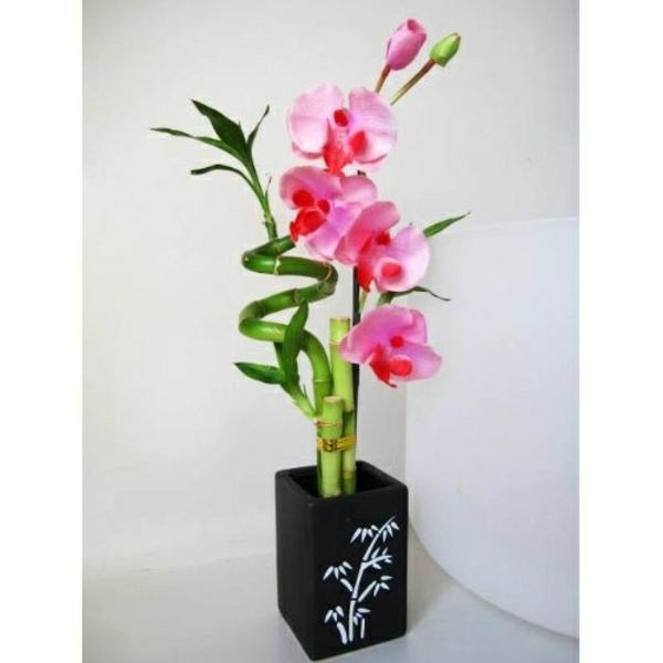 orchidee keramiscghe vase bambus drachenbaum rosa blüten