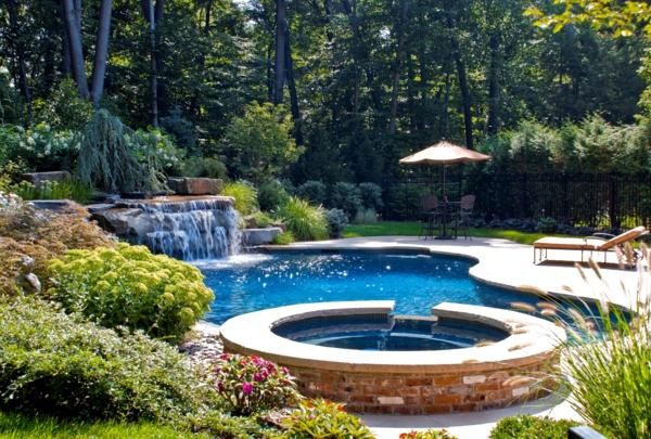 Gartengestaltung mit Steinen und Kies pool