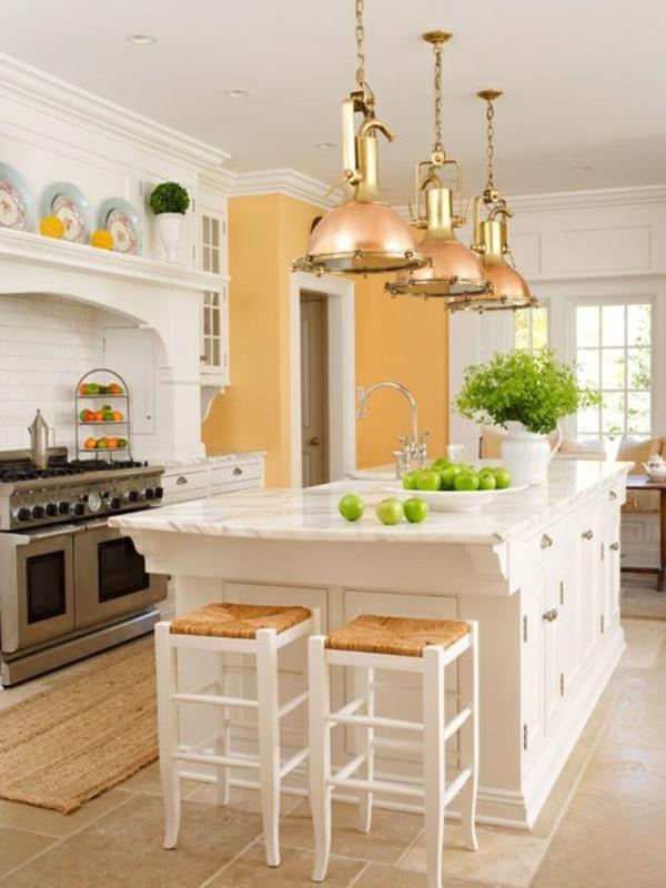 küchengestaltung einrichten Kochinsel groß pendelleuchten