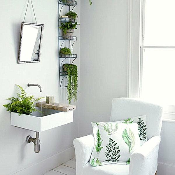 schönes badezimmer einrichten grüne zimmerpflanzen