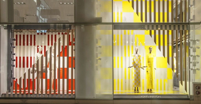 schaufenster dekorieren Luis Vuitton Daniel Buren
