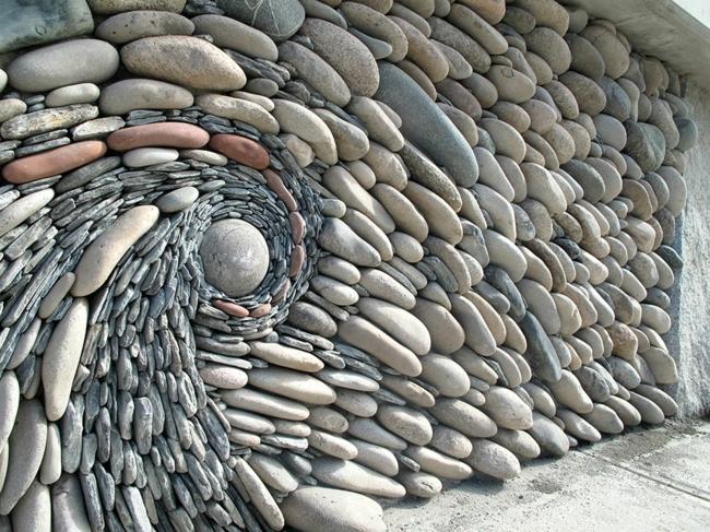 Steinwand als kunstwerk was k nnen k nstler aus steinen erschaffen - Dekosteine wand ...