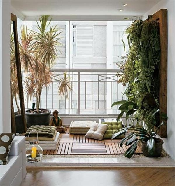 terrassengestaltung ideen balkonpflanzen holzfliesen sitzkissen