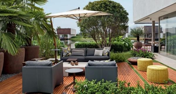 terrassengestaltung ideen balkonpflanzen lounge möbel