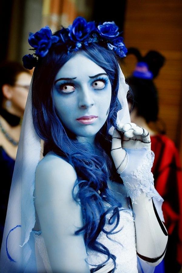 halloween kostüme damen blaue perüke karnevalskostüme