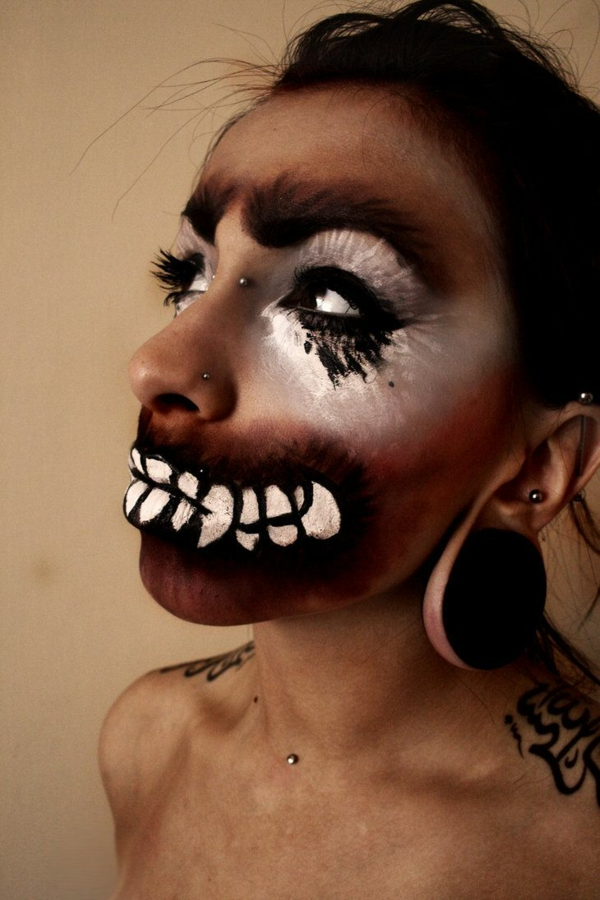 ideen halloween schminktipps party make up grausam