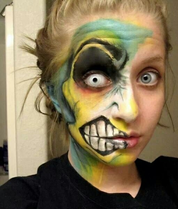ideen halloween schminktipps party make up teilweise