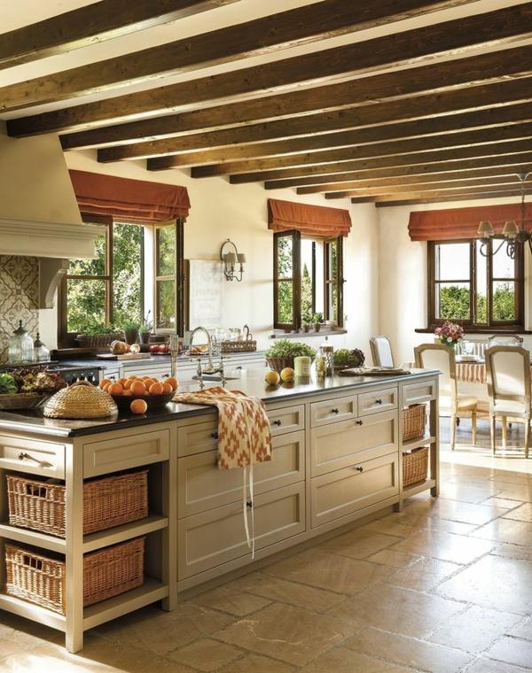 einrichtungsideen holzmöbel dekorative decke kücheninsel