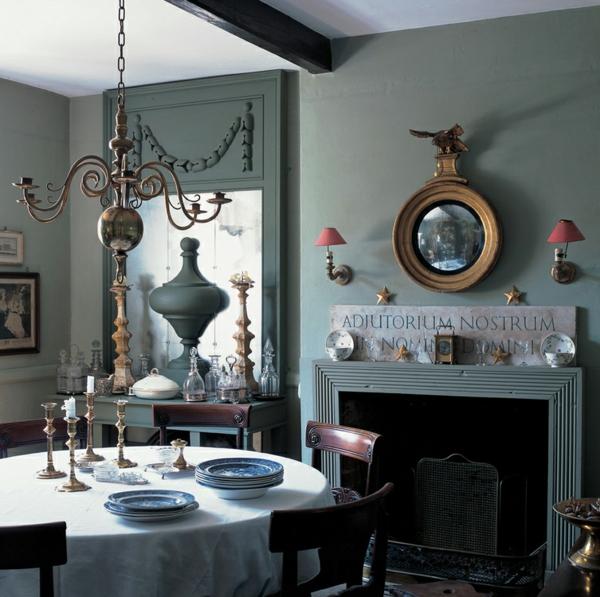 wohnideen esszimmer einrichtungsideen esstisch mit stühlen englischer stil wandfarbe mintgrün