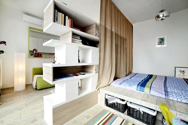 wohnideen regalsystem bett lagerraum sofa