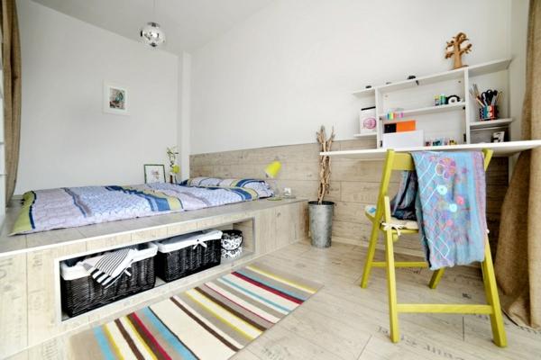 wohnideen schlafzimmer bett lagerraum