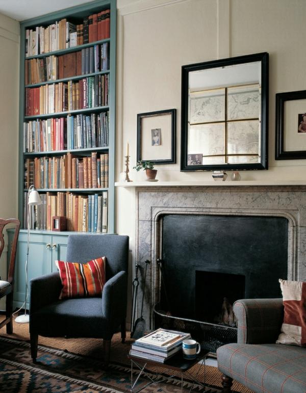 wohnideen wohnzimmer landhausstil kamin englischer stil bücherregal holz hausbibliothek