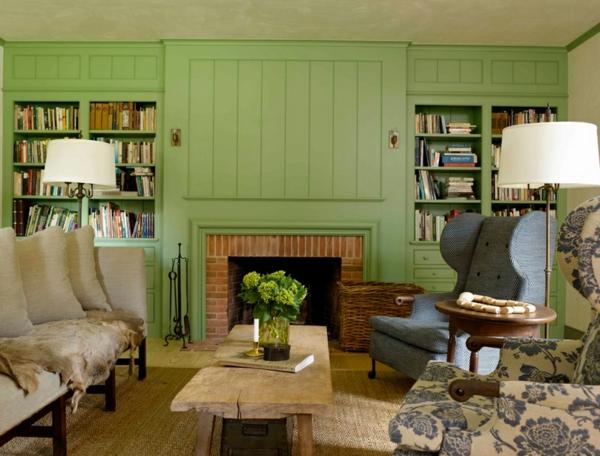 wohnideen wohnzimmer landhausstil kamin holzmöbel englischer stil wandfarbe grün
