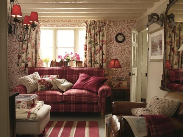 wohnideen wohnzimmer polstermöbel retro design ideen englischer stil farbgestaltung rot