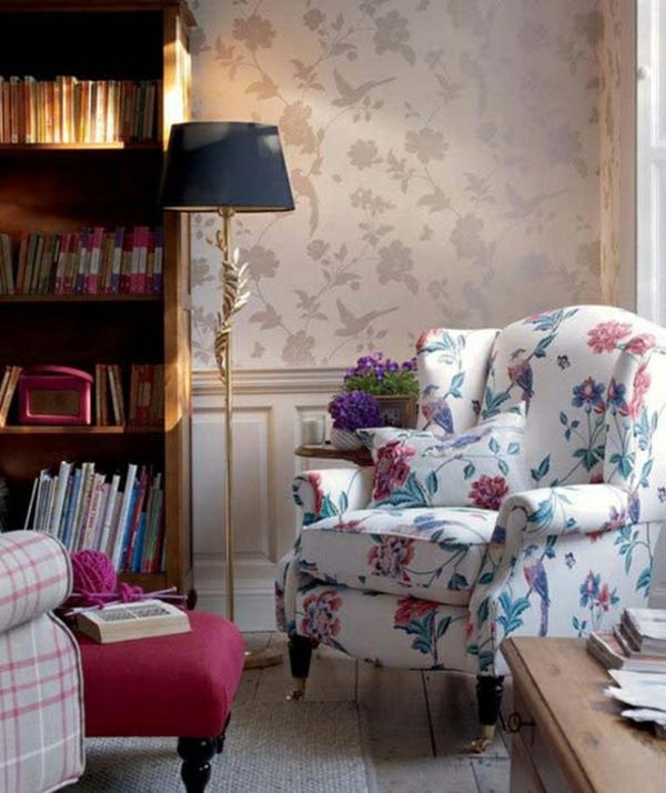 wohnideen wohnzimmer polstermöbel sessel standleuchten englischer stil leseecke