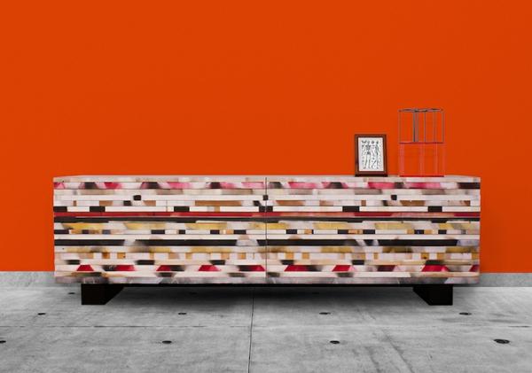 Wohnzimmer einrichten - Buffetflügel aus wiederverwendeten Leisten