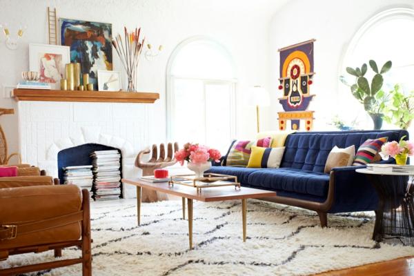 wohnzimmer farbgestaltung wohnung blaues sofa