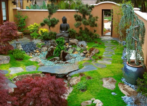 Charming Zen Garten Anlegen Buddha Skulptur Steine Good Ideas
