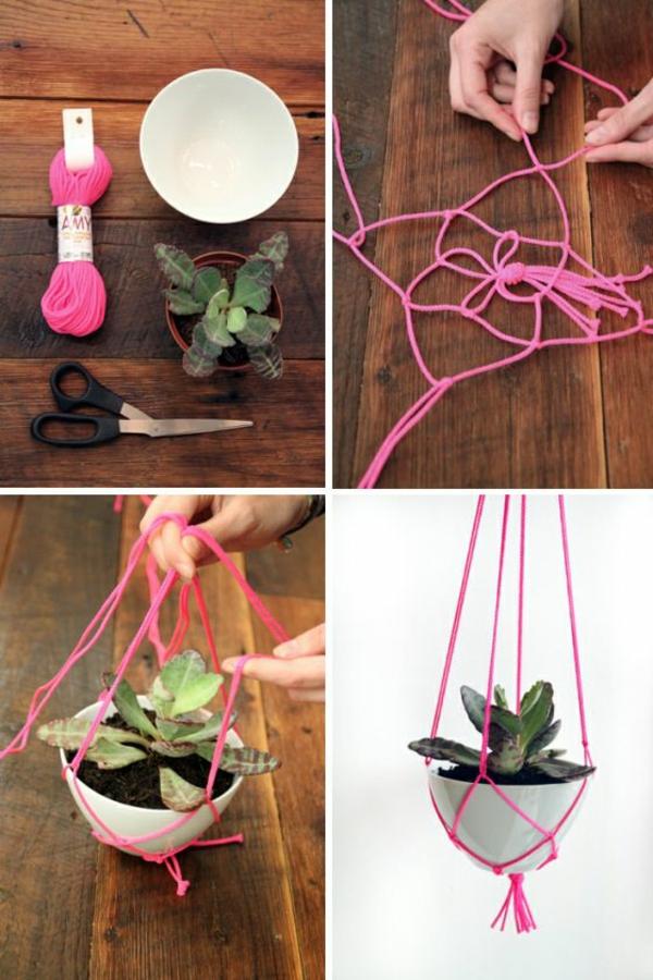zimmerpflanzen hängend blumenampel kreative bastelideen