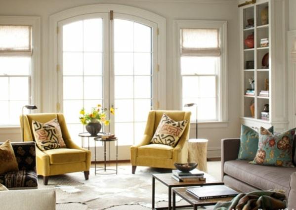 Moderner Landhausstil Wohnzimmer Gelbe Sessel Kissen