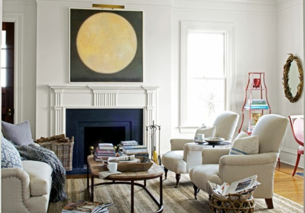 kamin wohnzimmer gemütlich warm einrichten moderner landhausstil
