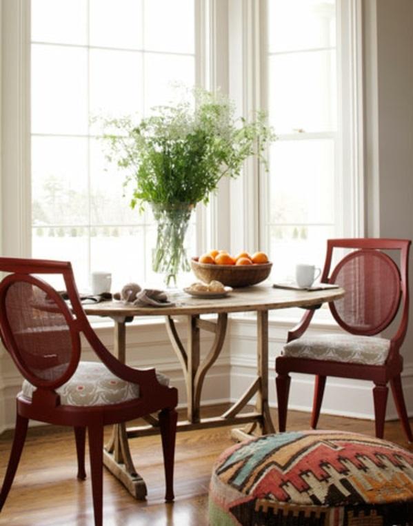 esszimmer esstisch rund holz rote stühle designer rustikal