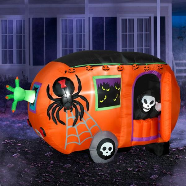 spinnen skelette Werbeartikel zu Halloween wagen orange