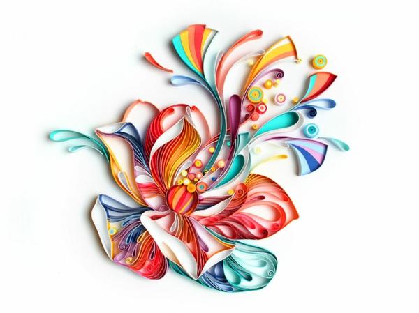 Basteln mit Papierstreifen blüte schöne