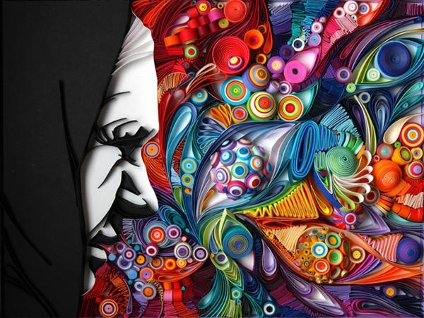 Basteln mit Papierstreifen dramatisch warm farben