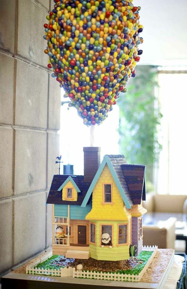 ballons Torten tolle Tortendeko Tortenfiguren haus fliegen