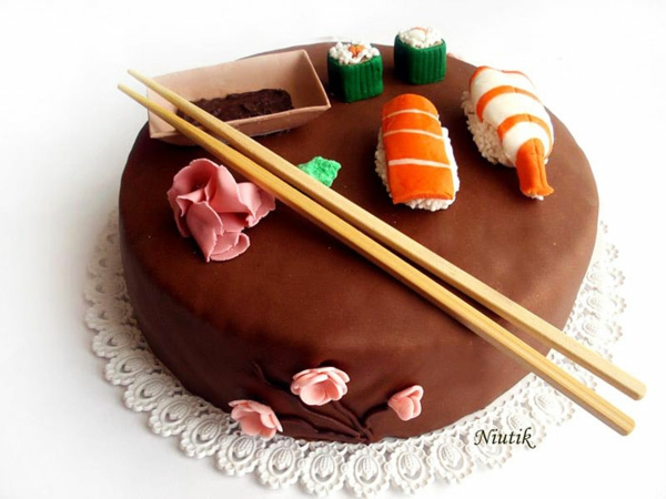 japanisch küche Torten tolle Tortendeko Tortenfiguren sushi