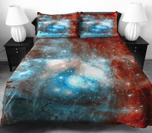Bettwäsche und Bettlaken braun hellblau