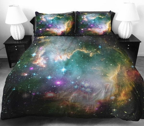 Galaxy Bettwäsche Bettlaken bunt