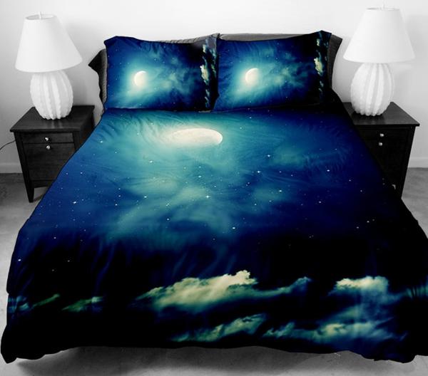 Galaxy Bettwäsche Bettlaken dunkel blau schwarz
