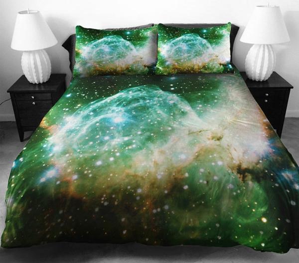 Galaxy Bettwäsche und Bettlaken grün lebendig