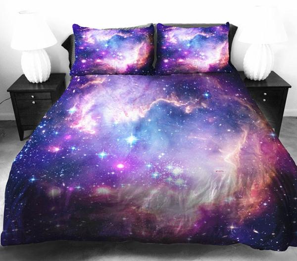 Galaxy Bettwäsche Bettlaken violett blau