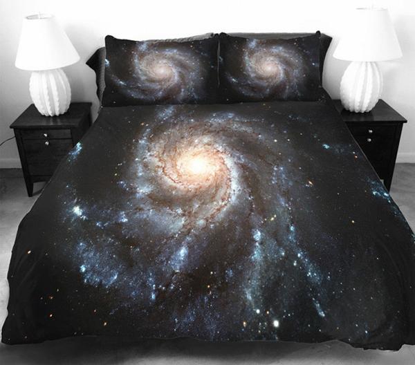 Galaxy Bettwäsche Bettlaken weltall schwarz wolkig nebel