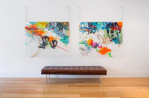 Graffiti couch leder Wand zu Hause abstrakt minimalistisch