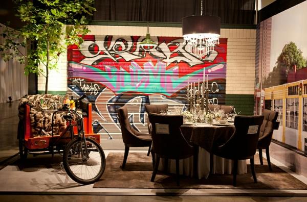 Graffiti Wand urban stil Hause esszimmer tisch holz