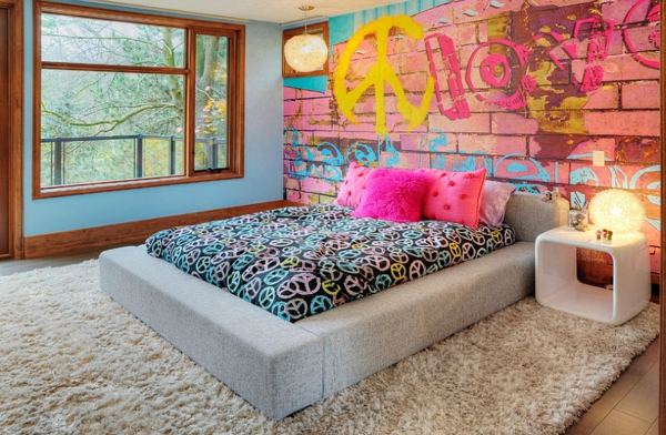 Coole graffiti wand in jedem raum zu hause for Leselampe schlafzimmer wand