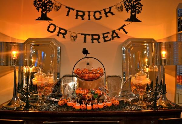Halloween Deko Ideen üppig orange licht